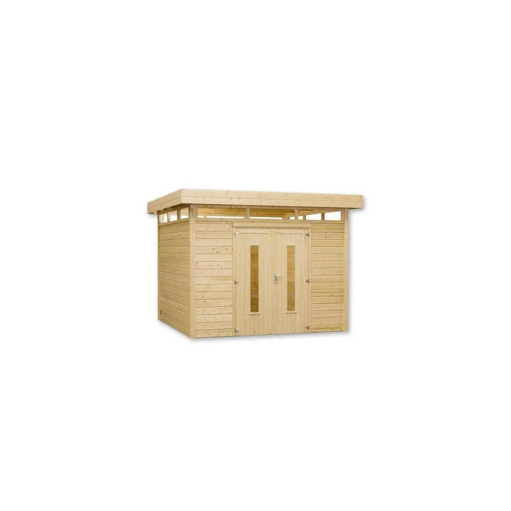 Abri de jardin m2 bois 28 mm pefc toit plat double for Porte abri de jardin en bois