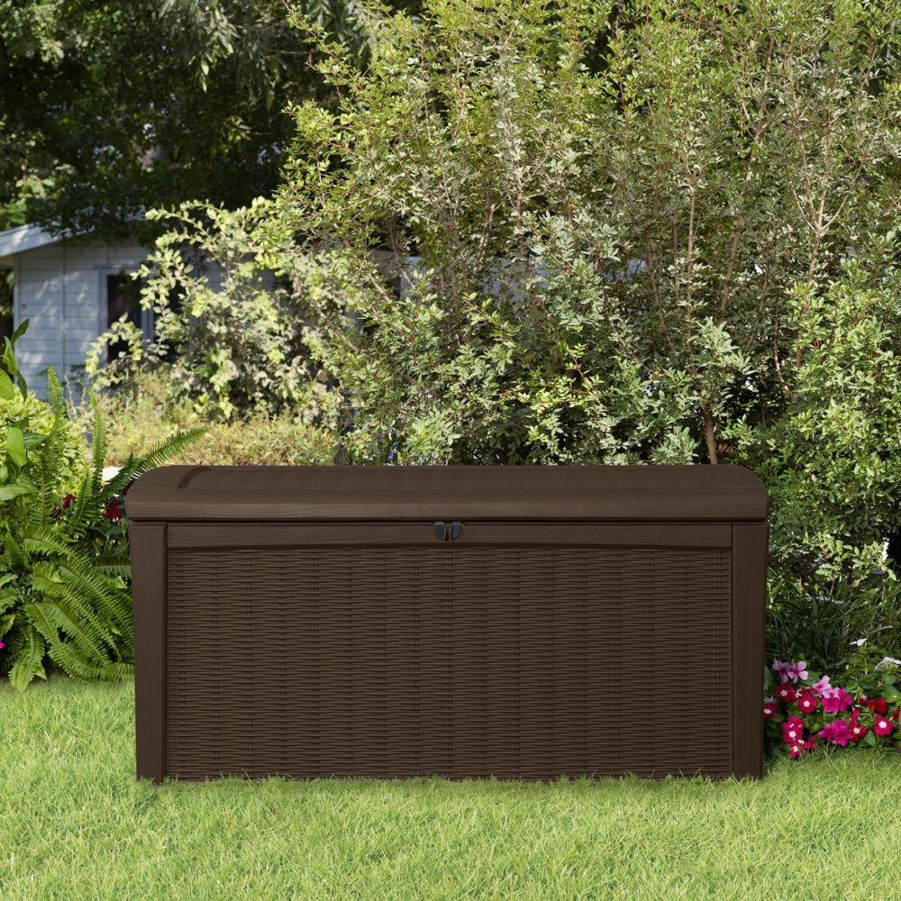coffre de jardin r sine tress e keter rio 400l marron plantes et jardins. Black Bedroom Furniture Sets. Home Design Ideas