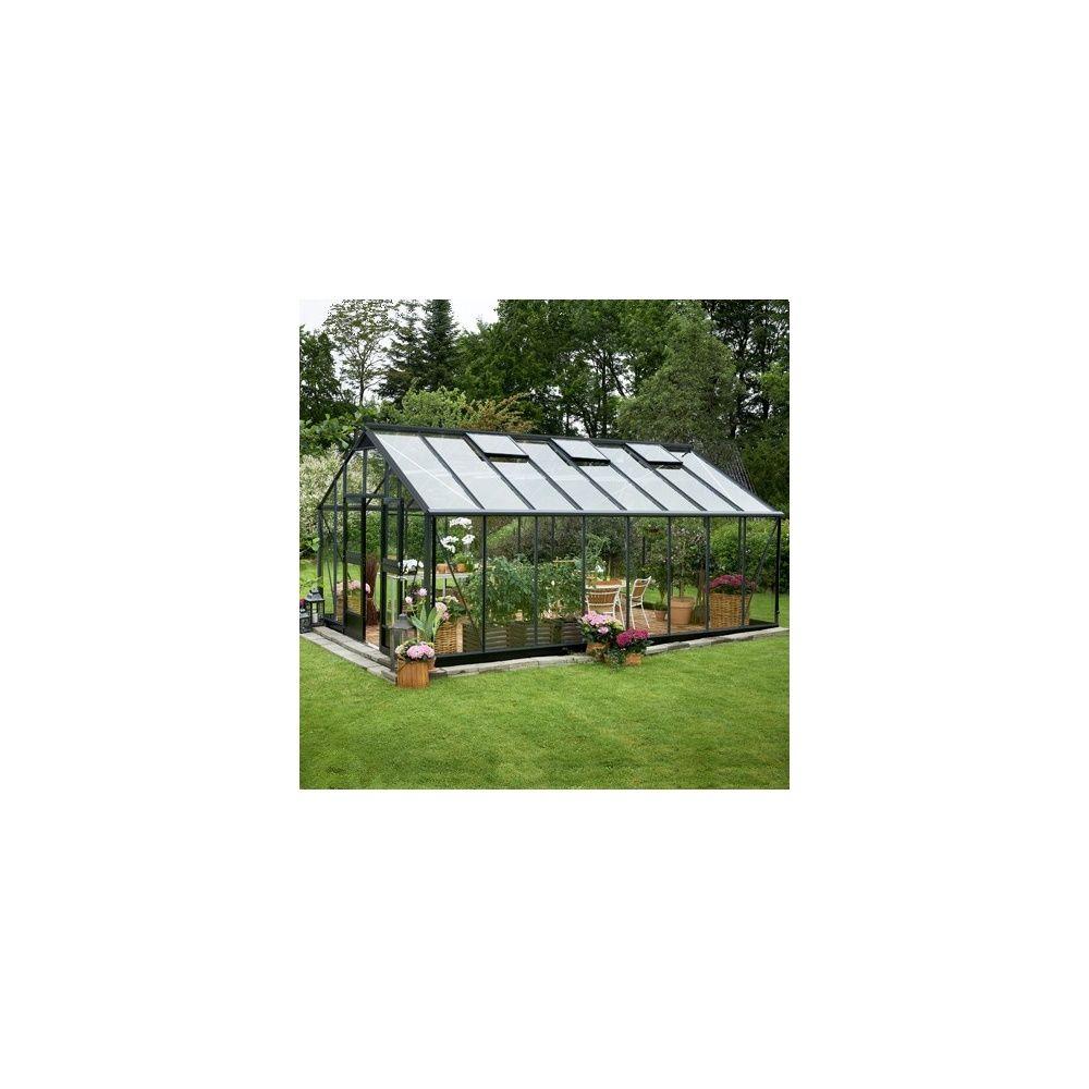 serre de jardin en verre tremp jardinier 21 4m hors tout anthracite juliana plantes et jardins. Black Bedroom Furniture Sets. Home Design Ideas