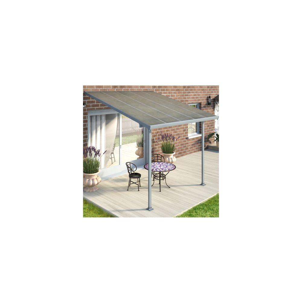 toit terrasse polycarbonate et aluminium 3 x 3 m avanc e 3m gris plantes et jardins. Black Bedroom Furniture Sets. Home Design Ideas