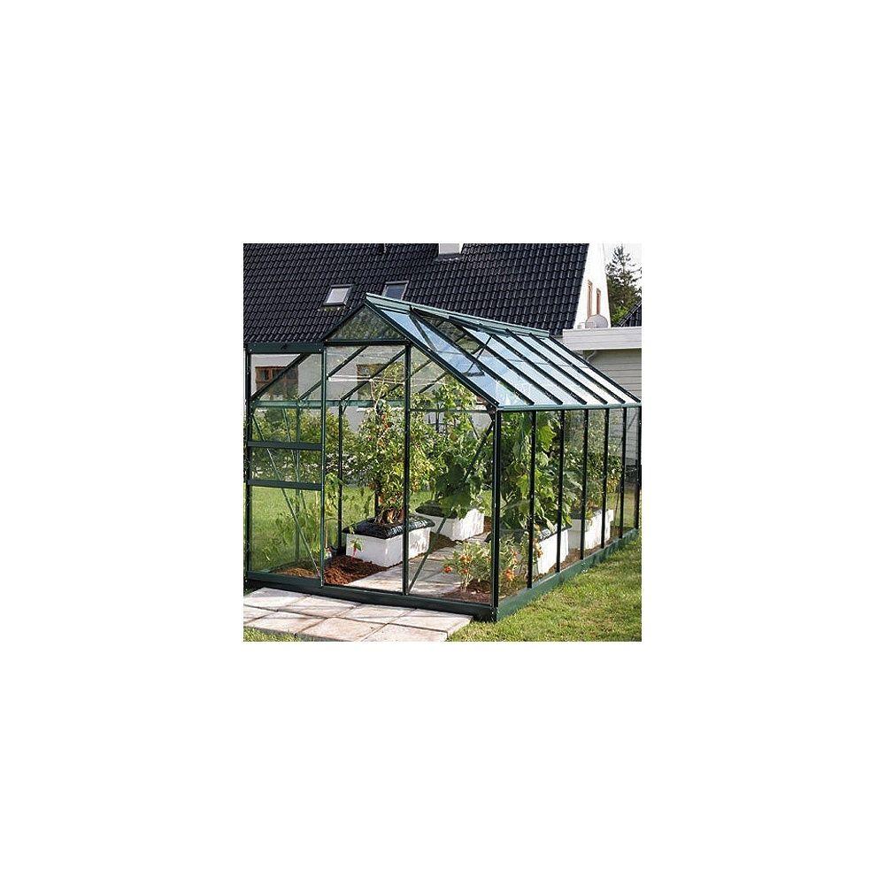 serre de jardin en verre horticole venus 7500 laqu e vert 7 40 m embase plantes et jardins. Black Bedroom Furniture Sets. Home Design Ideas