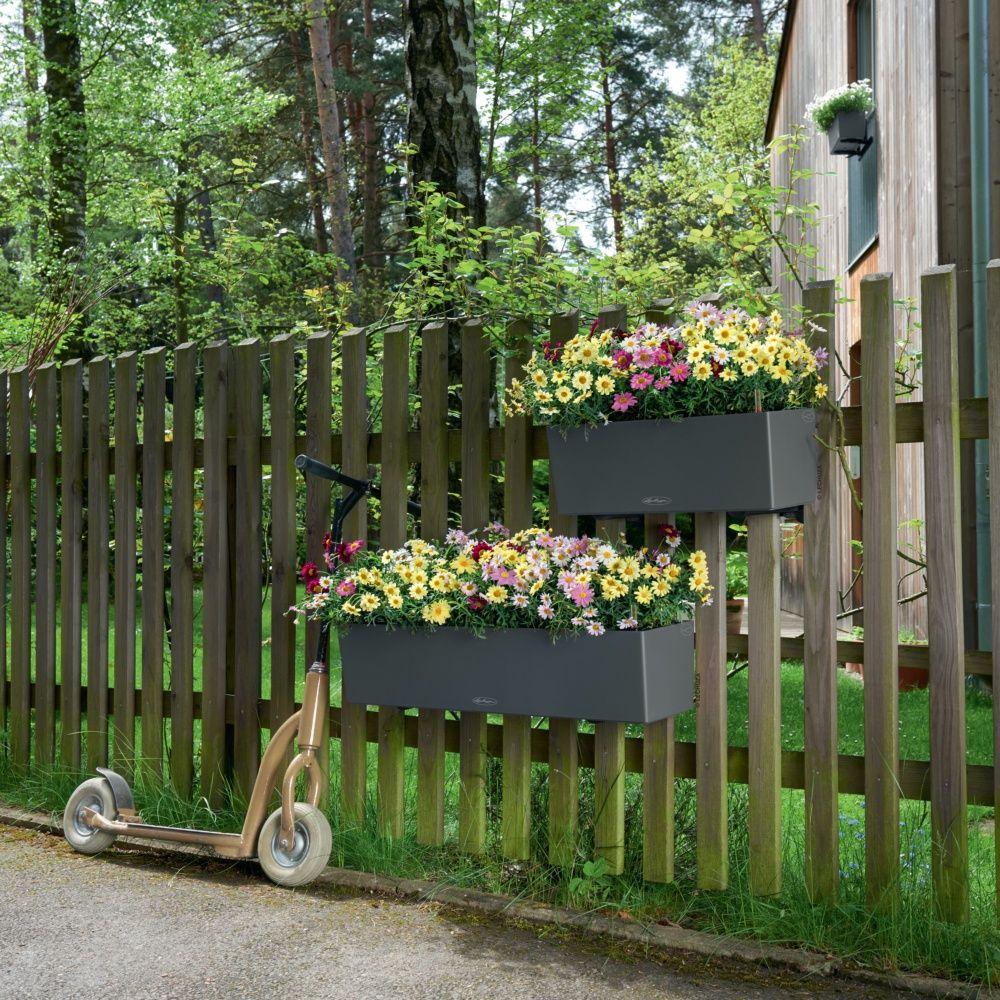 Jardini re lechuza balconera trend l50 h19 cm gris plantes et jardins - Jardiniere leroy merlin ...