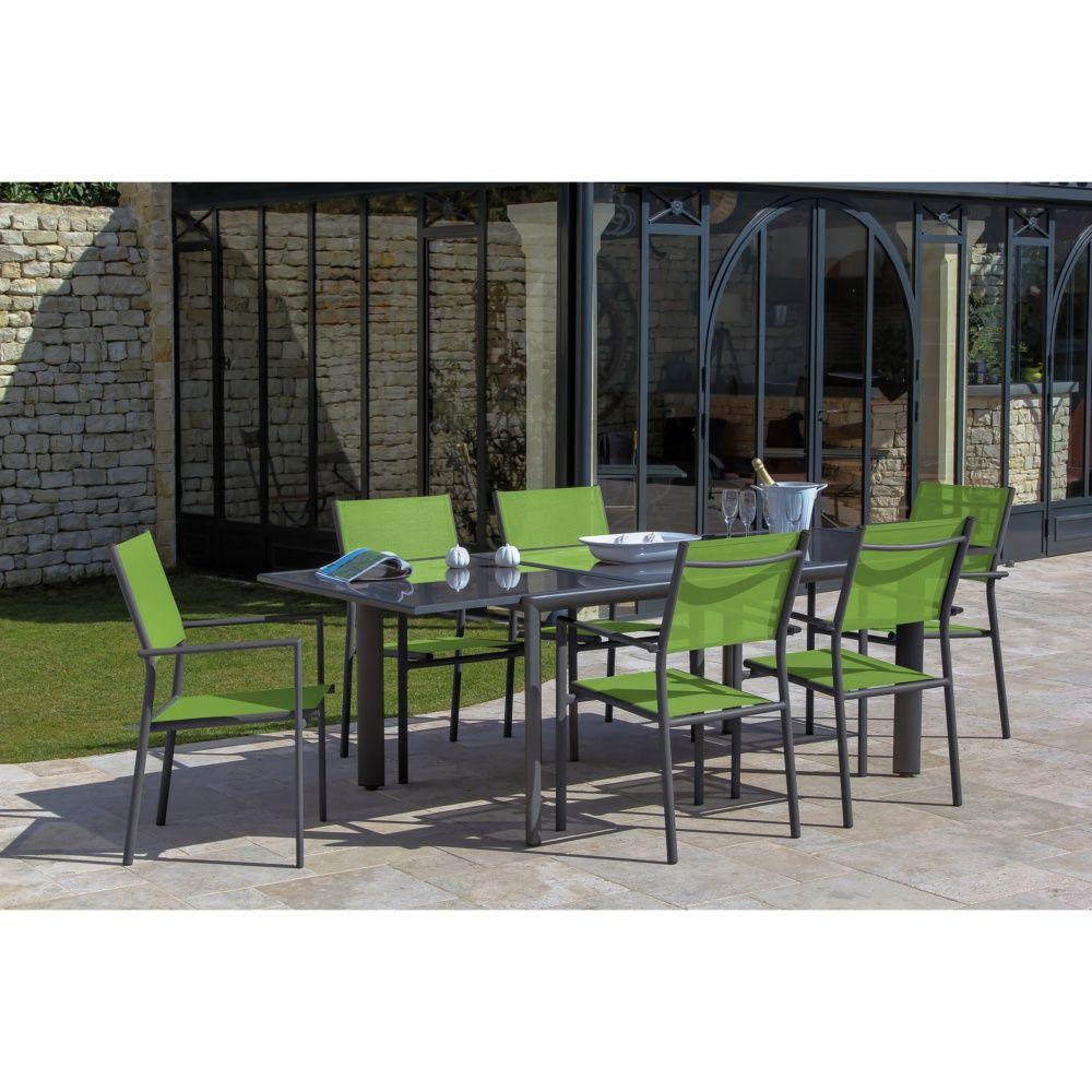 Table de jardin allonge messina aluminium l160 230 l100 for Jardin gris et vert