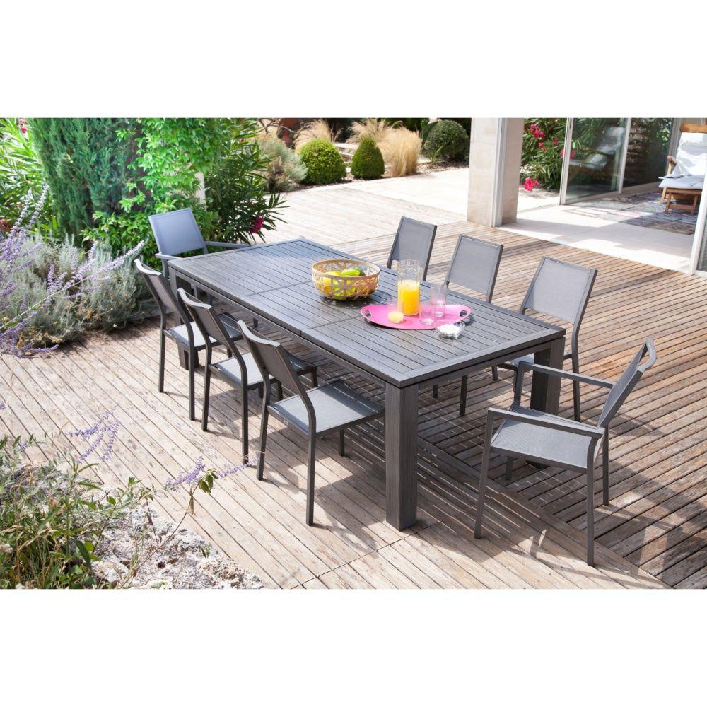 Table de jardin fiero aluminium l200 300 l103 cm ice - Salon de jardin oceo aluminium fiero ...