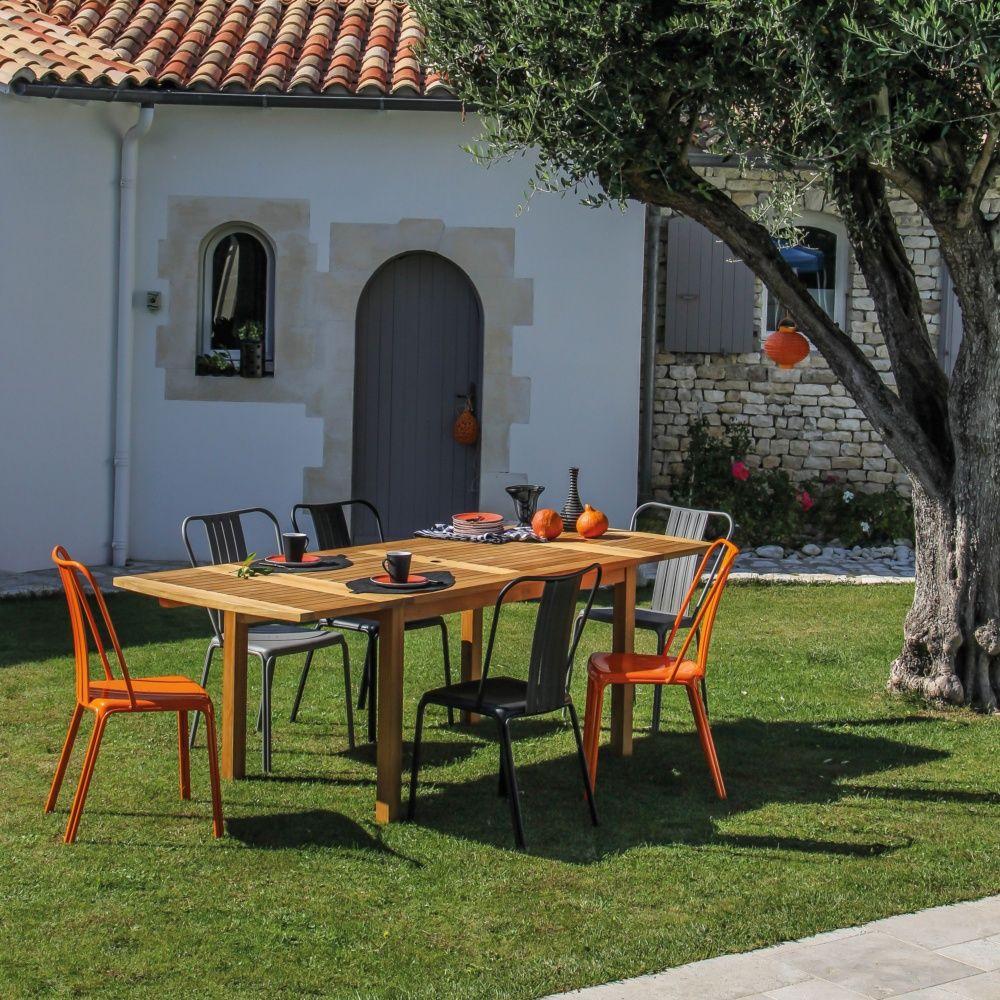 Table de jardin allonge grenoble teck l140 230 l90 cm - Magasin jardinage grenoble ...