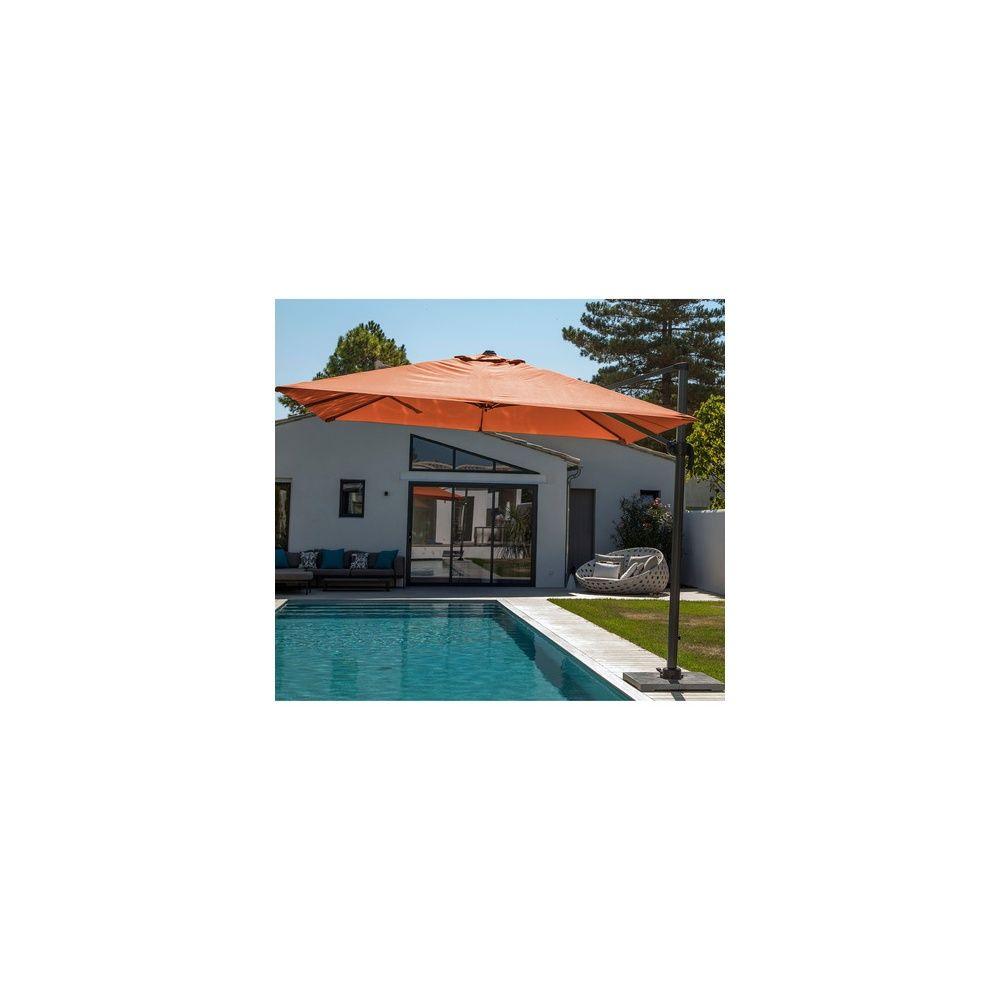 parasol d port orientable 3x3 m aluminium mandarine plantes et jardins. Black Bedroom Furniture Sets. Home Design Ideas