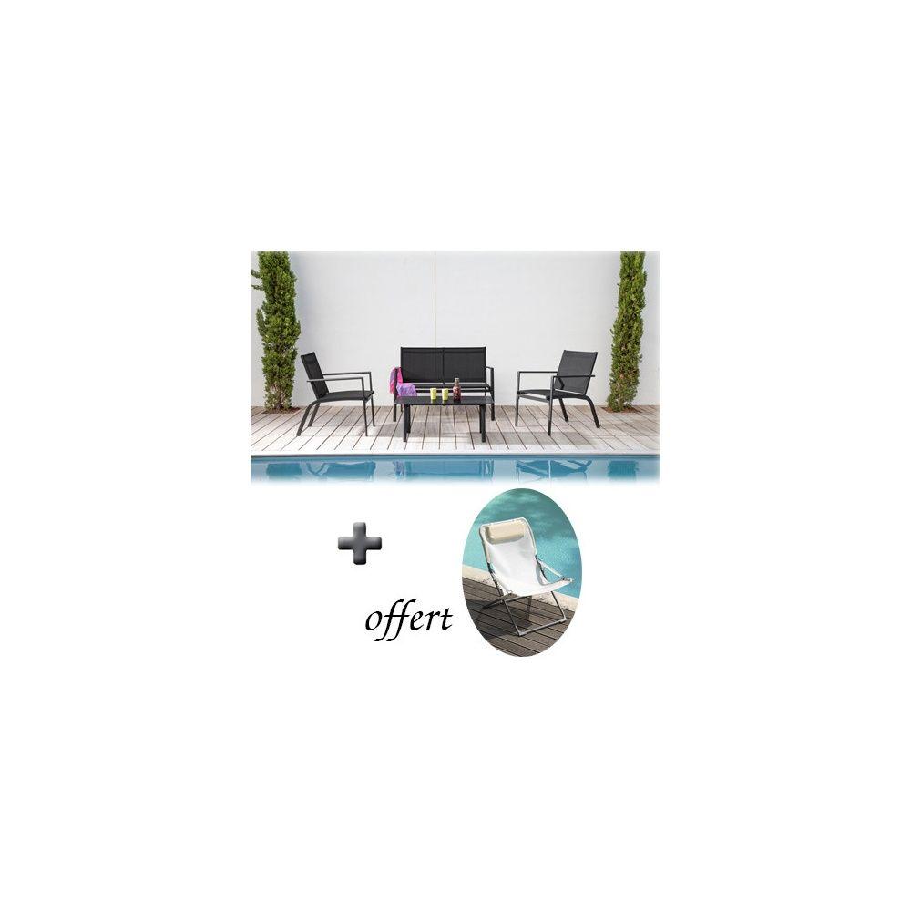 salon lounge sartene 2 fauteuils 1 canap table en