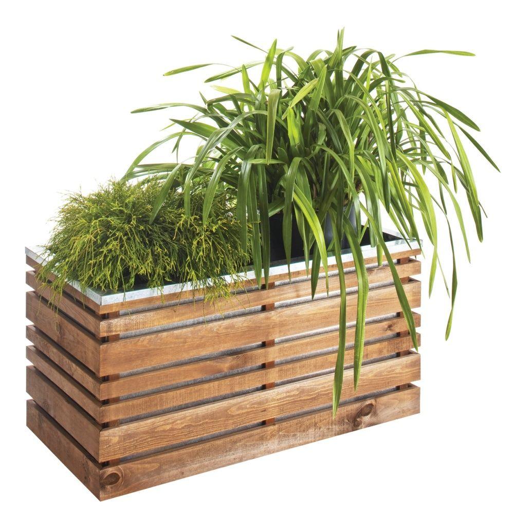 bac fleurs bois trait lignz l100 h50 cm plantes et. Black Bedroom Furniture Sets. Home Design Ideas