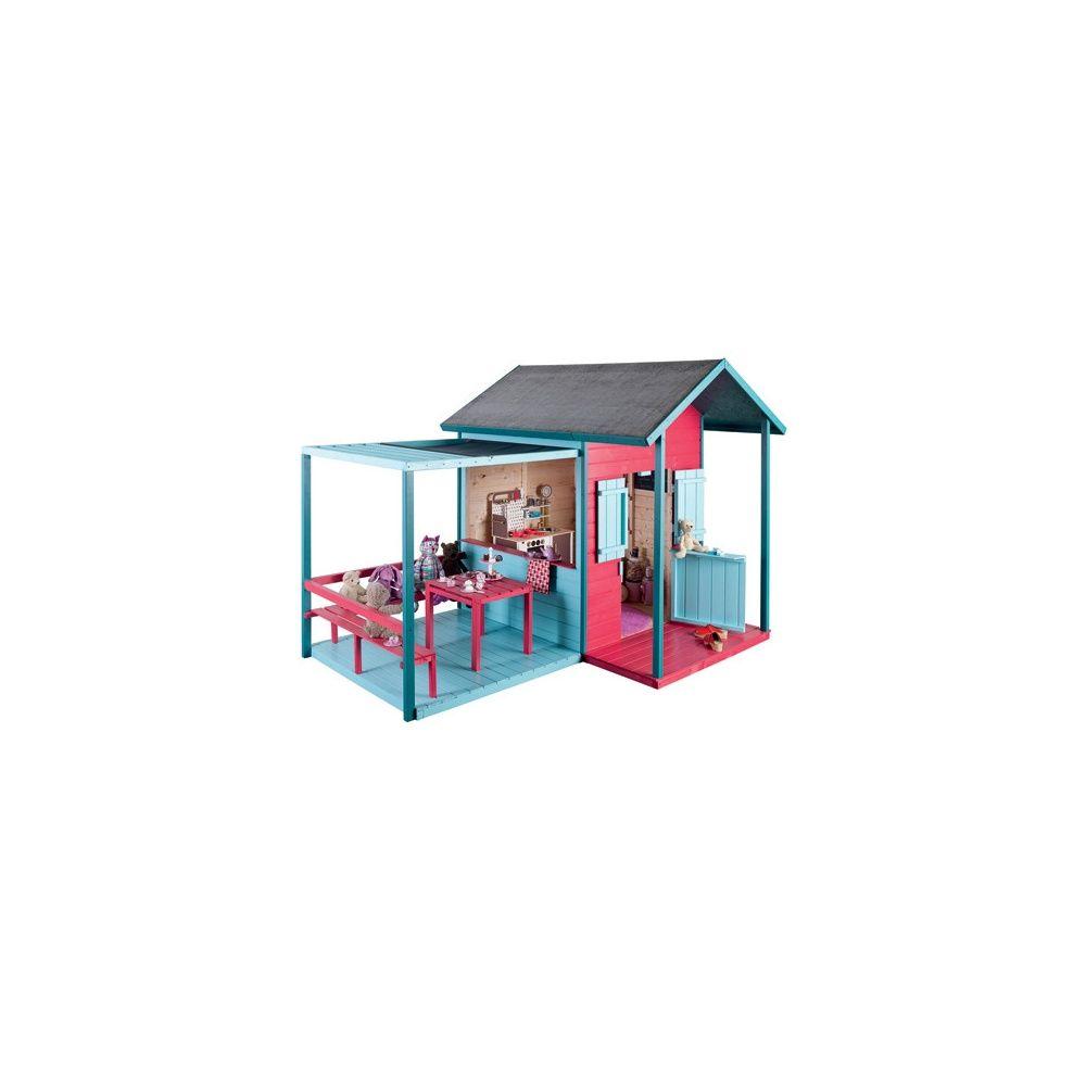 Maisonnette pour enfant avec auvent table et banc kook jardipolys plan - Maisonnette pour enfant ...