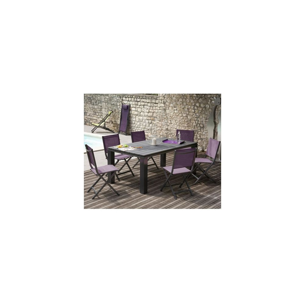 Salon de jardin table elena 180 cm gris anthracite 6 for Salon de jardin gris maloya