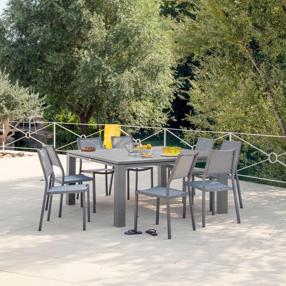 salon de jardin table fiero 160 gris anthracite 4 chaises florence grises 4 fauteuils. Black Bedroom Furniture Sets. Home Design Ideas