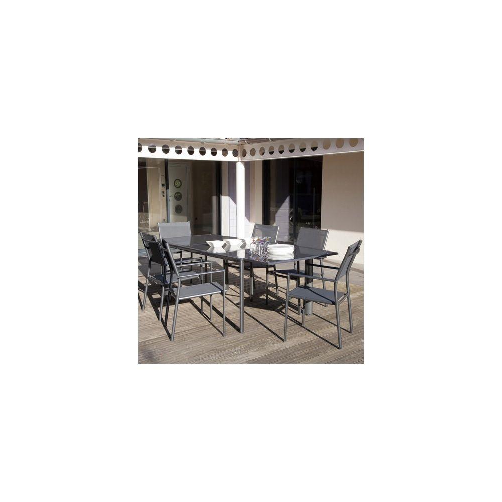 Salon de jardin table messina 160 230 cm 6 fauteuils for Salon de jardin harmony gris anthracite