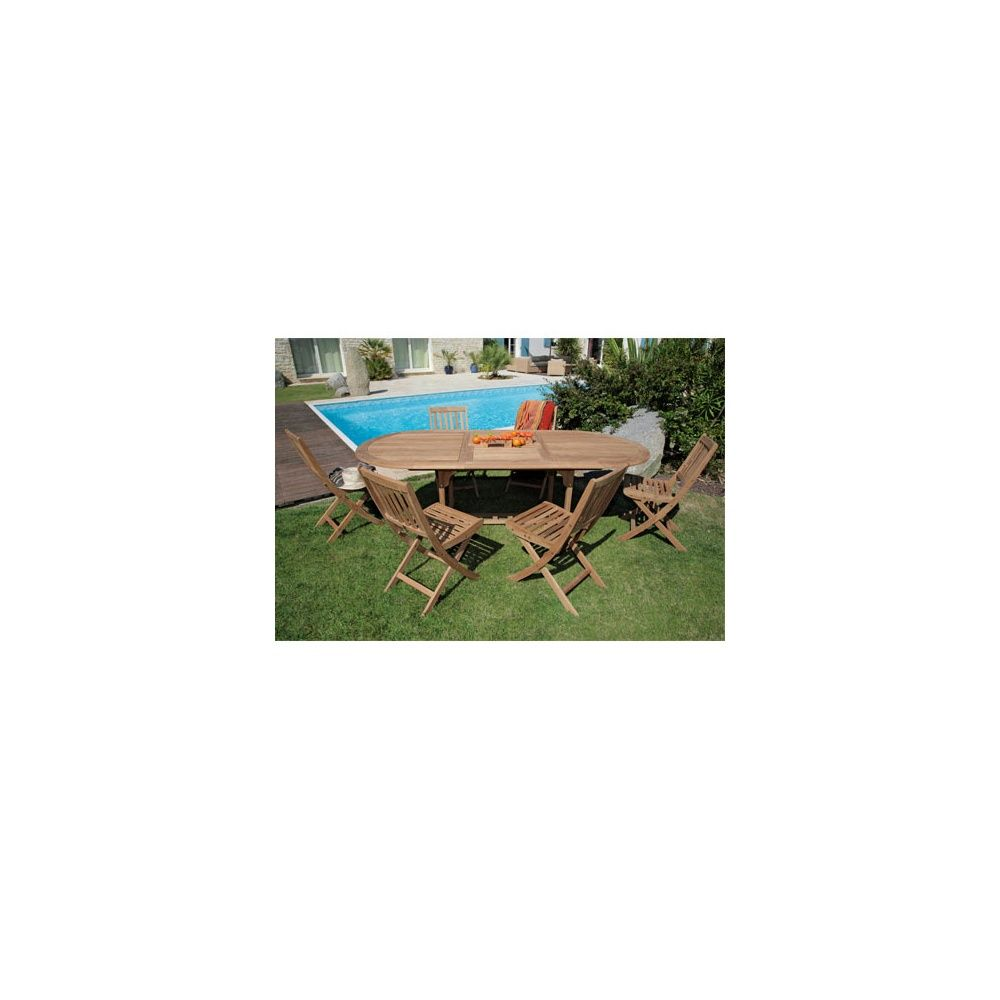 Salon de jardin table ovale hampton 160 220 cm bois 6 for Chaise de salon de jardin en bois