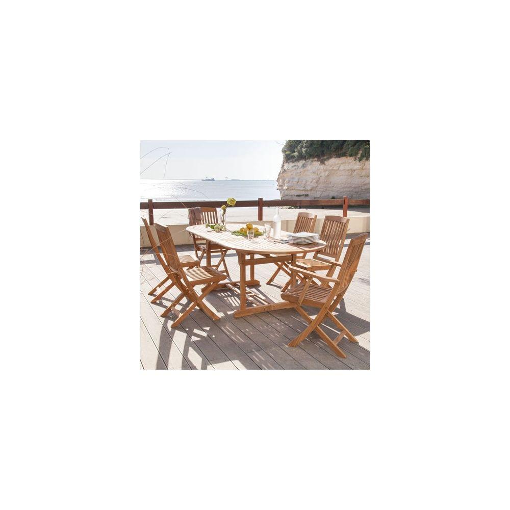 Salon de jardin table ovale hampton 160 220 cm bois 4 chaises rias 2 fauteuils rias Table de jardin en bois ovale