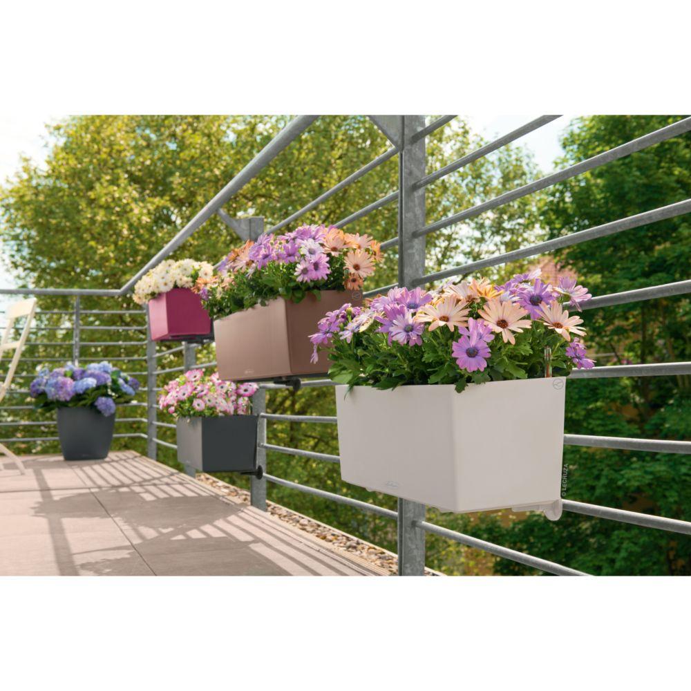 Jardini re lechuza balconera trend l50 h19 cm blanc for Jardiniere avec support