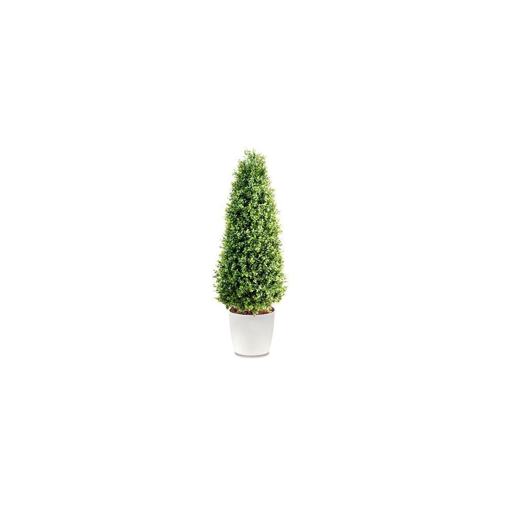 buis c ne h130cm tronc naturel feuillage artificiel pot elho blanc plantes et jardins. Black Bedroom Furniture Sets. Home Design Ideas