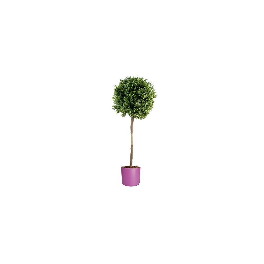 Buis boule tige h110cm tronc naturel feuillage artificiel pot elho violet plantes et jardins - Pot buis artificiel ...