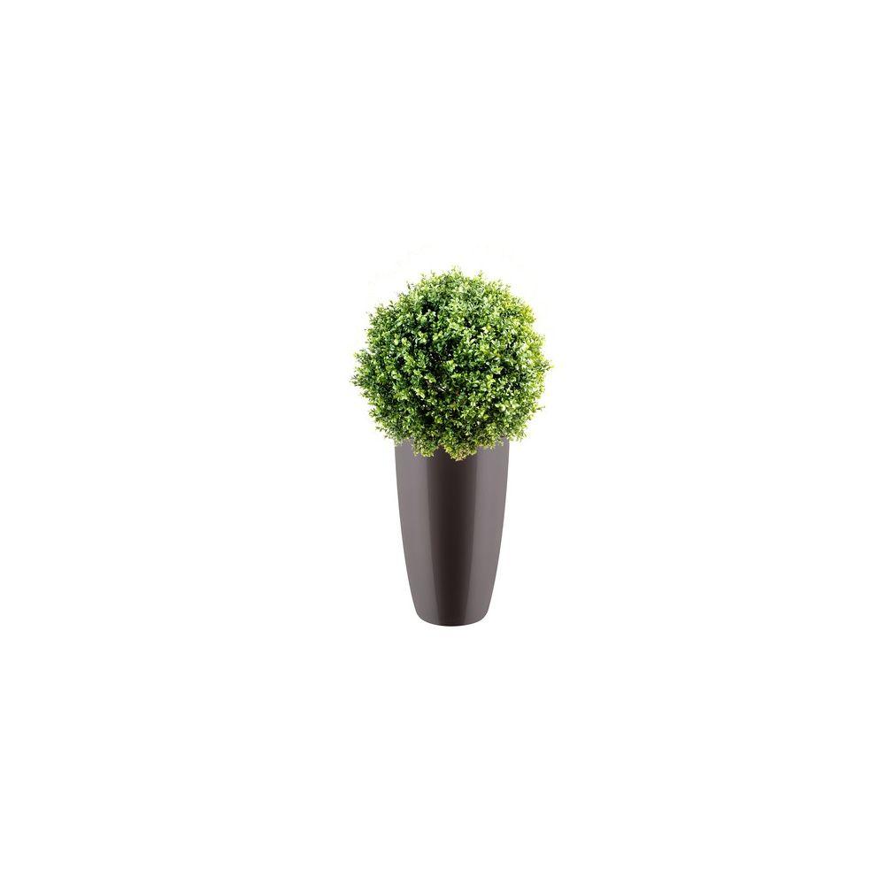 Buis boule 30cm tronc naturel feuillage artificiel pot elho gris plantes et jardins - Pot buis artificiel ...
