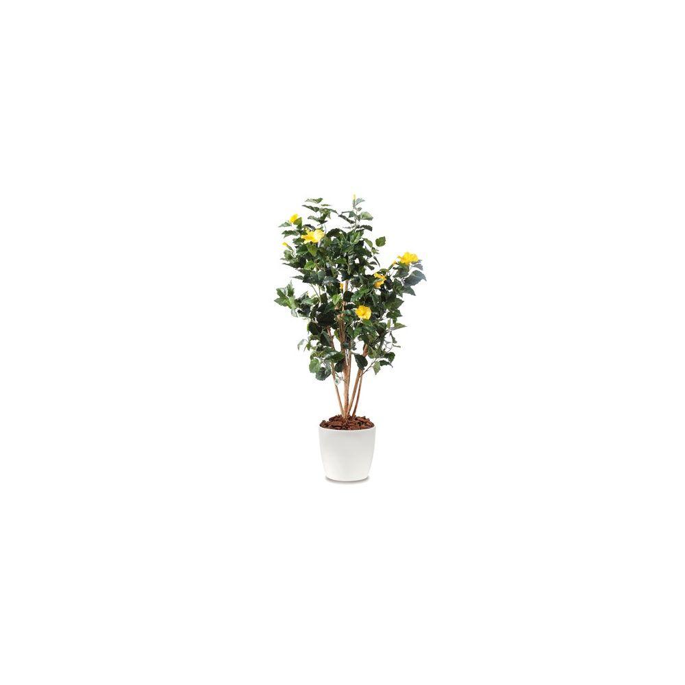 Hibiscus jaune h150cm tronc naturel feuillage artificiel for Plante 150 maladies madagascar