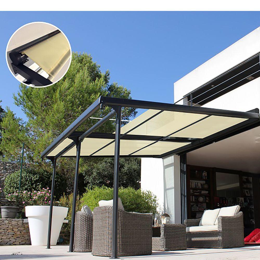 tonnelle adoss e aluminium 4x4 m lames orientables boston luxe plantes et jardins. Black Bedroom Furniture Sets. Home Design Ideas