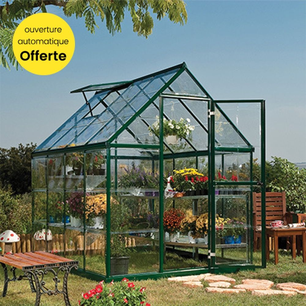 serre de jardin harmony polycarbonate 4 6 m ouverture automatique offerte palram plantes. Black Bedroom Furniture Sets. Home Design Ideas