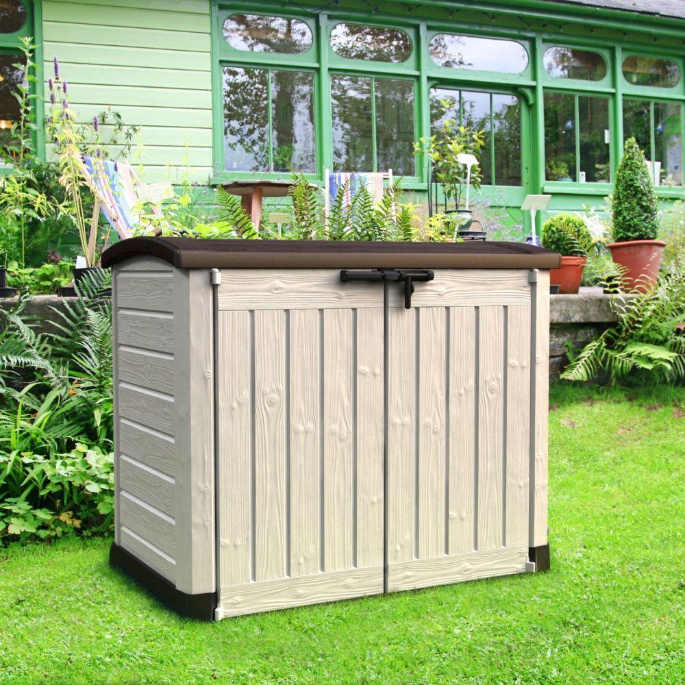 Coffre de jardin r sine arc 1200l beige plantes et jardins - Coffre jardin resine ...
