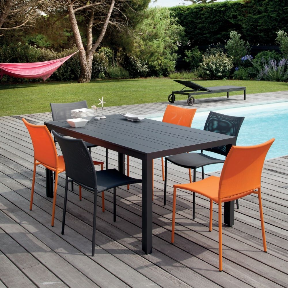 salon de jardin globe table aluminium 6 chaises gris orange plantes et jardins. Black Bedroom Furniture Sets. Home Design Ideas