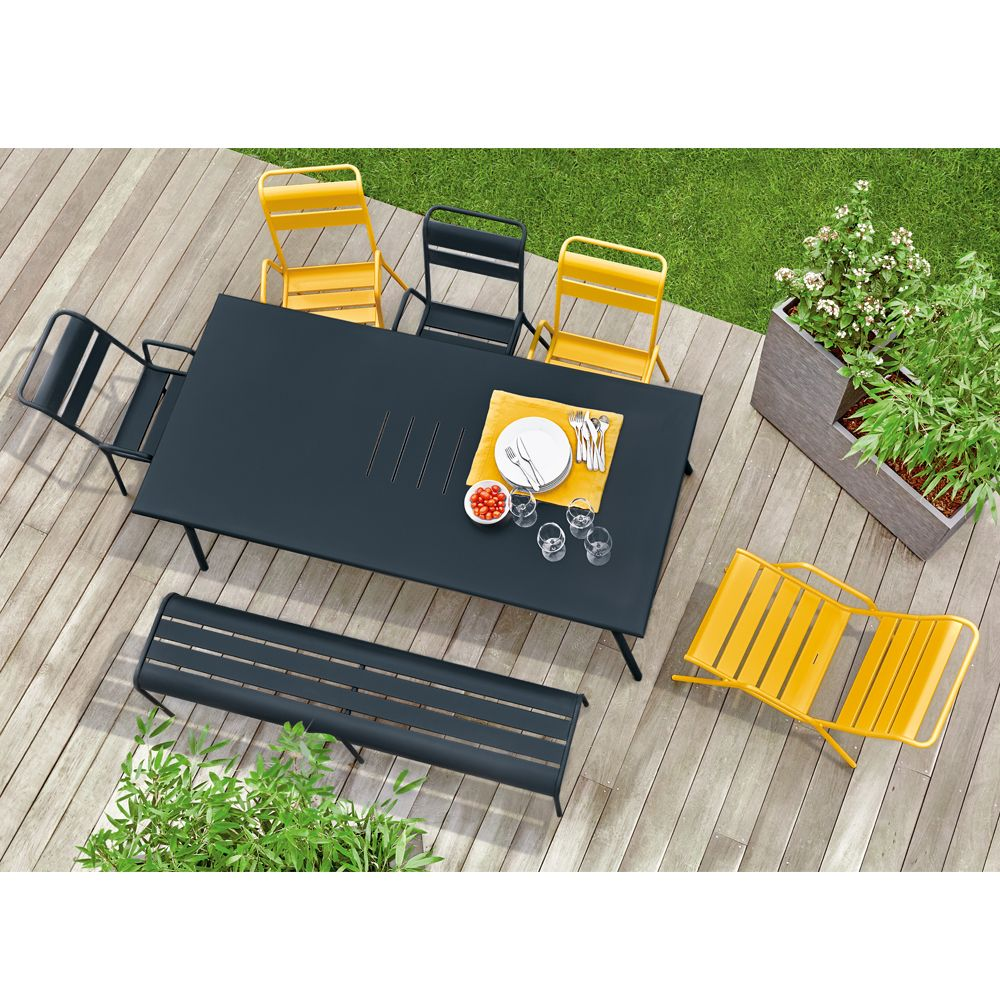 fauteuil bas fermob monceau acier miel plantes et jardins. Black Bedroom Furniture Sets. Home Design Ideas