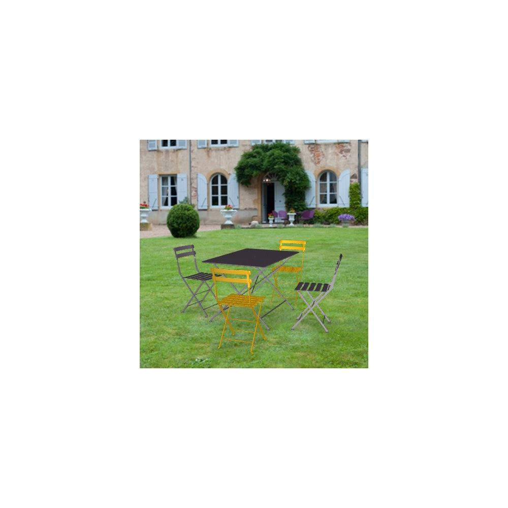 salon de jardin fermob bistro table l117 l77 cm 4 chaises plantes et jardins. Black Bedroom Furniture Sets. Home Design Ideas