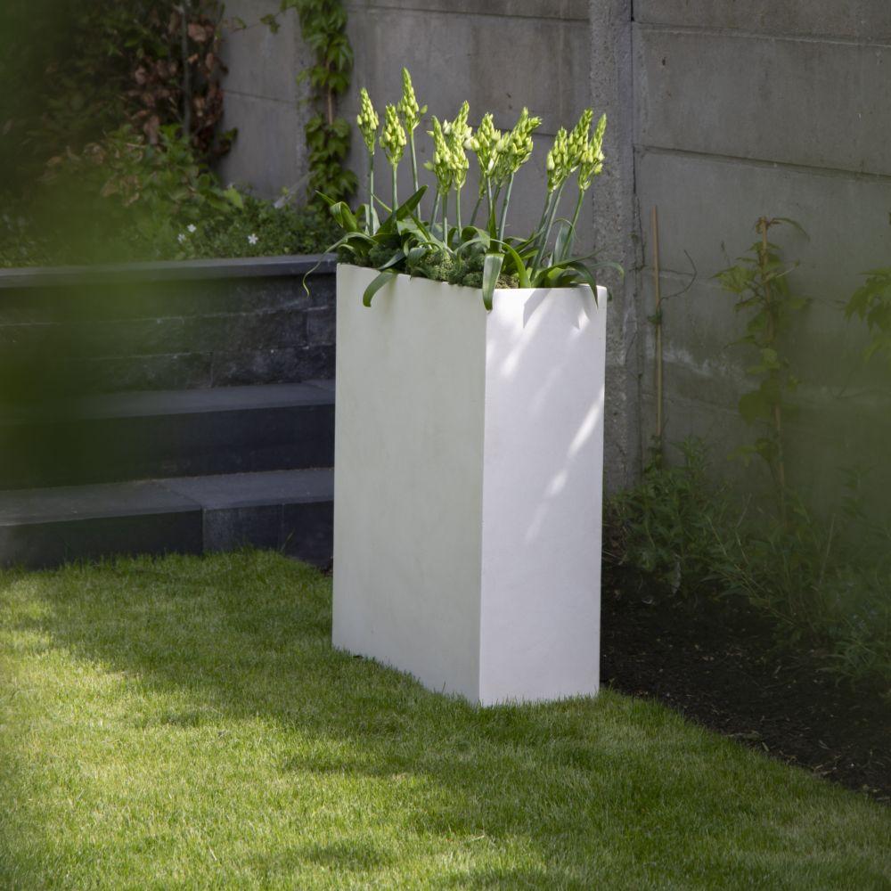 bac à fleurs fibre de terre clayfibre l60 h72 cm blanc - plantes