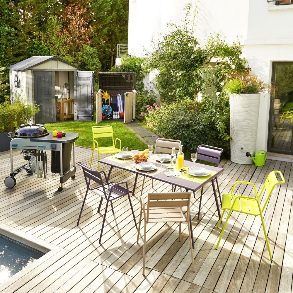 table de jardin fermob monceau acier l146 l80 cm prune plantes et jardins. Black Bedroom Furniture Sets. Home Design Ideas