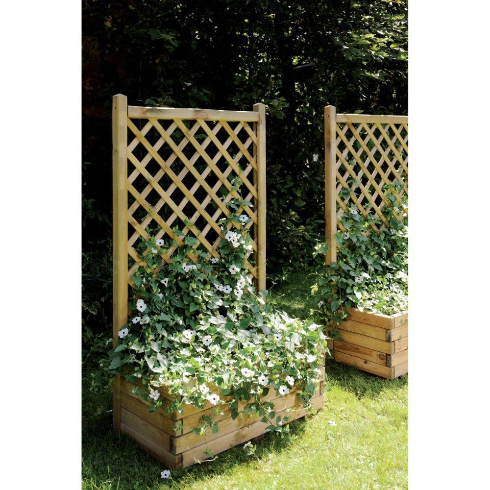 Bac fleurs avec treillis bois trait l80 h135 5 cm for Bac a plante exterieur