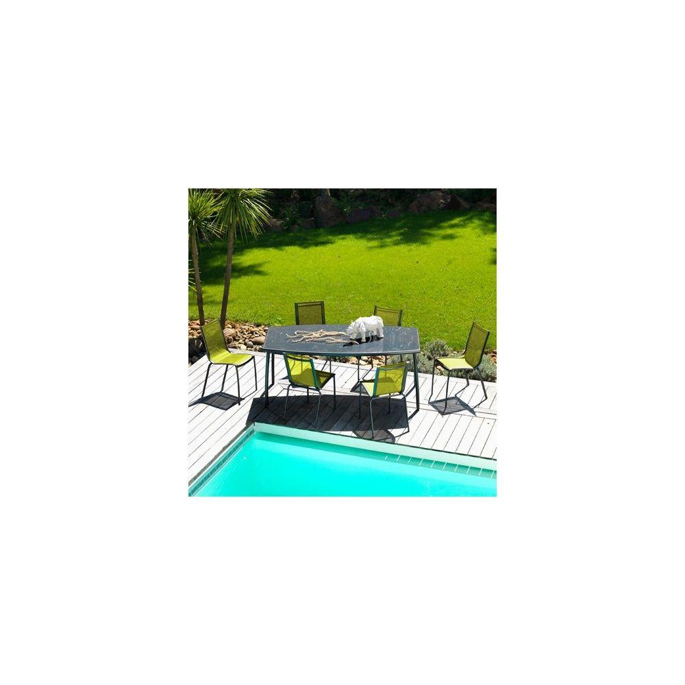 Salon de jardin linea table l200 l105 cm 6 chaises for Jardin gris et vert