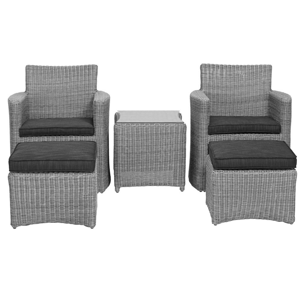 Salon de jardin résine Cupido blanc lavé : 2 fauteuils + table ...