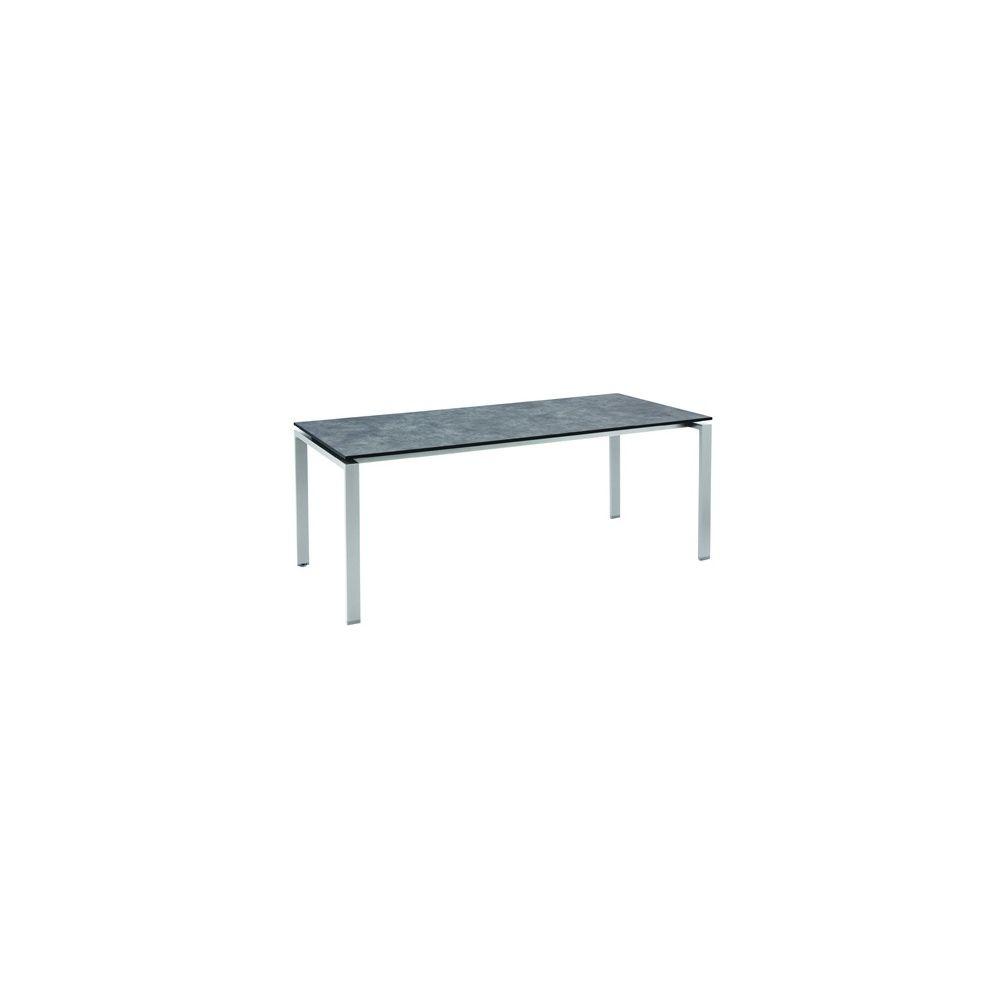Table hpl effet b ton bross 220 x 100 cm argent gris - Table effet beton ...