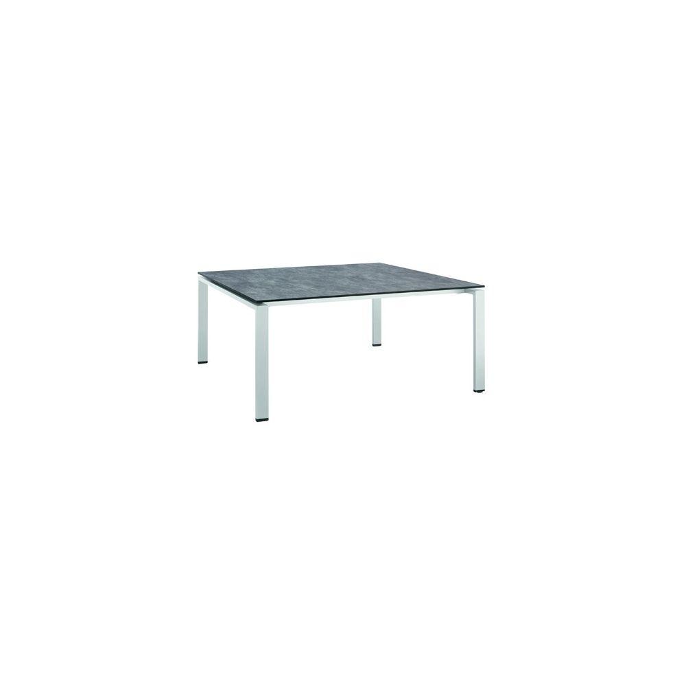 Table hpl effet b ton bross 150 x 150 cm argent gris - Table effet beton ...