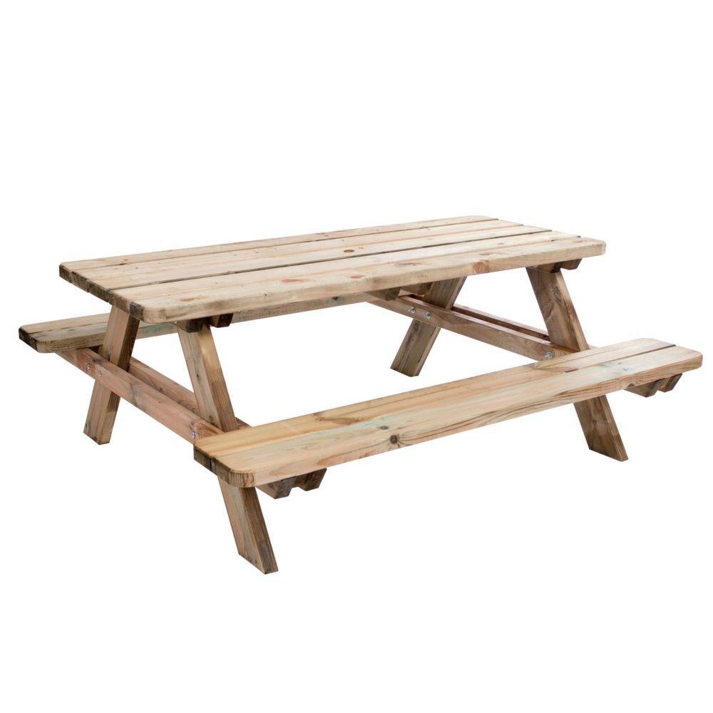 Table De Pique Nique Matisse Bois Trait L180 L74 Cm