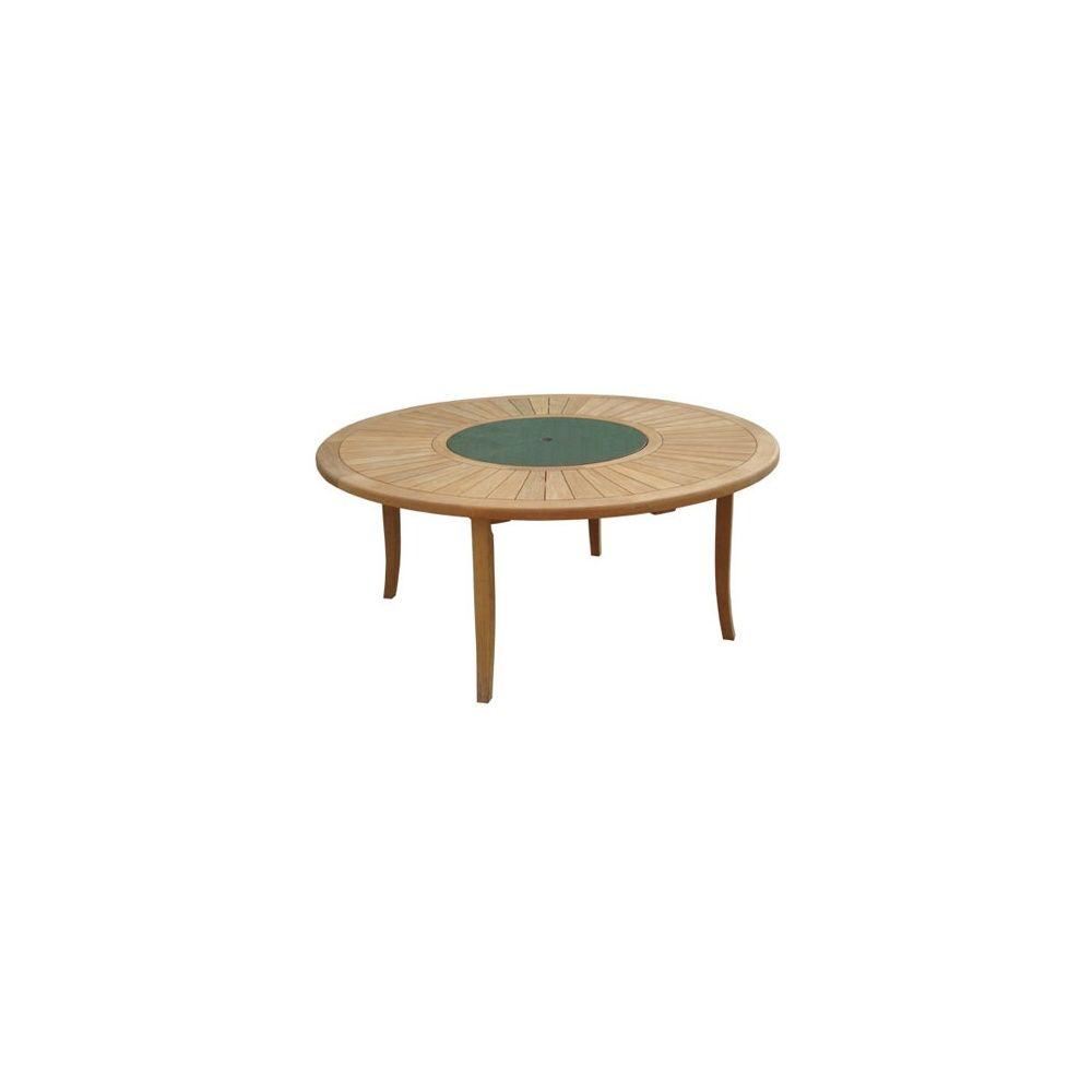 table ronde brehat 155 cm - bois teck fsc - proloisirs - plantes