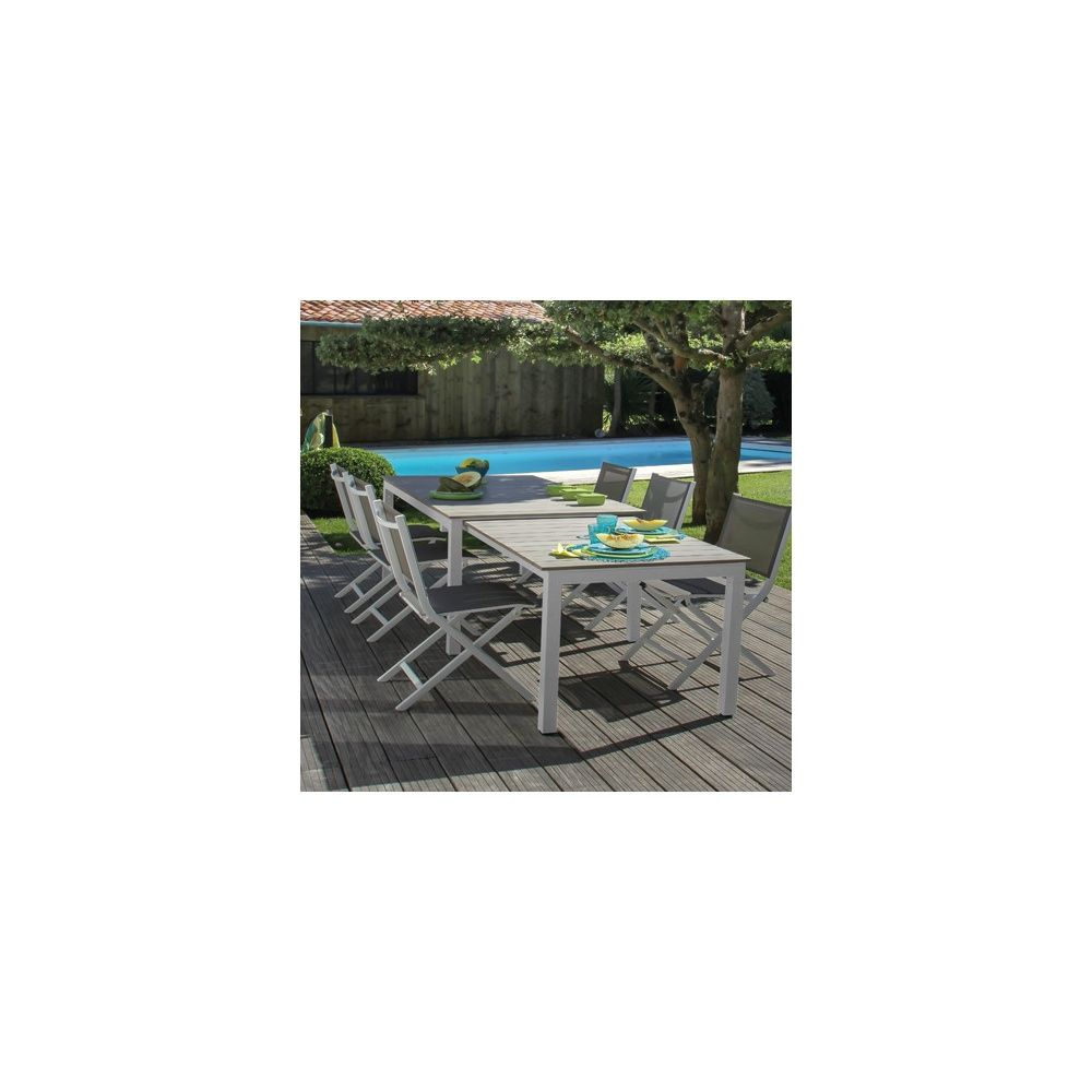 Table salon de jardin gamm vert for Chaise salon de jardin aluminium