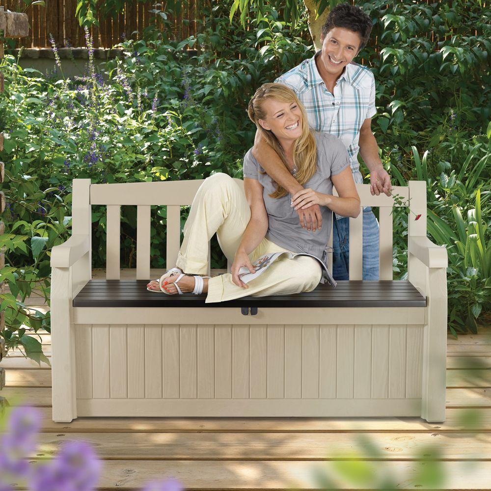 coffre banc de jardin r sine keter bogota 265l beige plantes et jardins. Black Bedroom Furniture Sets. Home Design Ideas