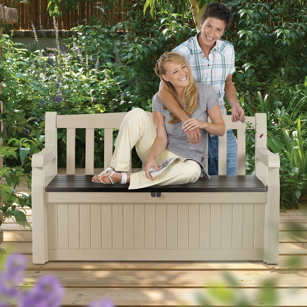 Coffre banc de jardin r sine keter bogota 265l beige for Banc de jardin en resine
