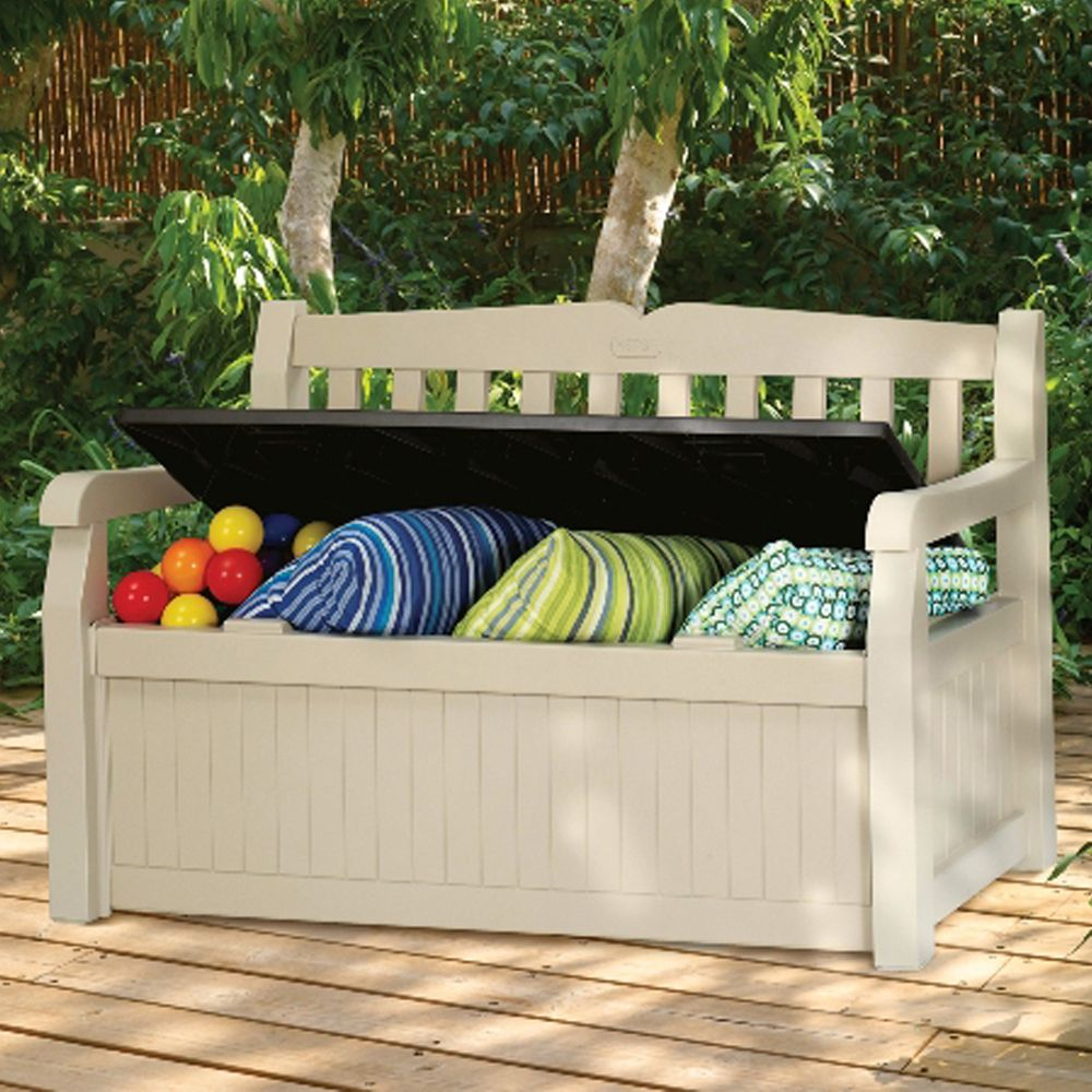 coffre banc de jardin r sine keter bogota 265l beige plantes et jardins. Black Bedroom Furniture Sets. Home Design Ideas