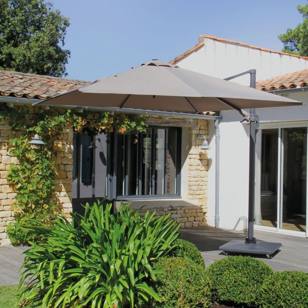 parasol d port orientable aluminium 3x3 m taupe plantes. Black Bedroom Furniture Sets. Home Design Ideas