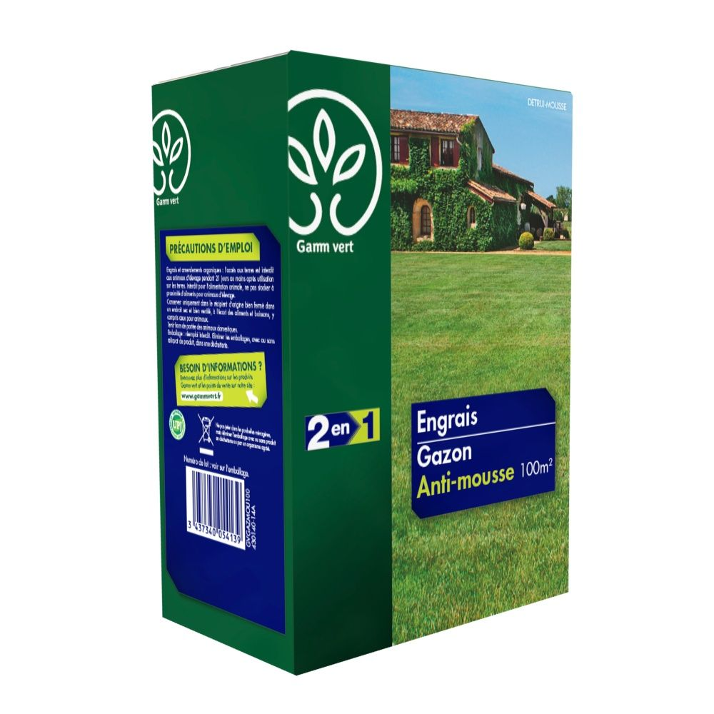 Engrais 2 en 1 gazon anti-mousse 3,5 Kg - Gamm vert - Plantes et ...