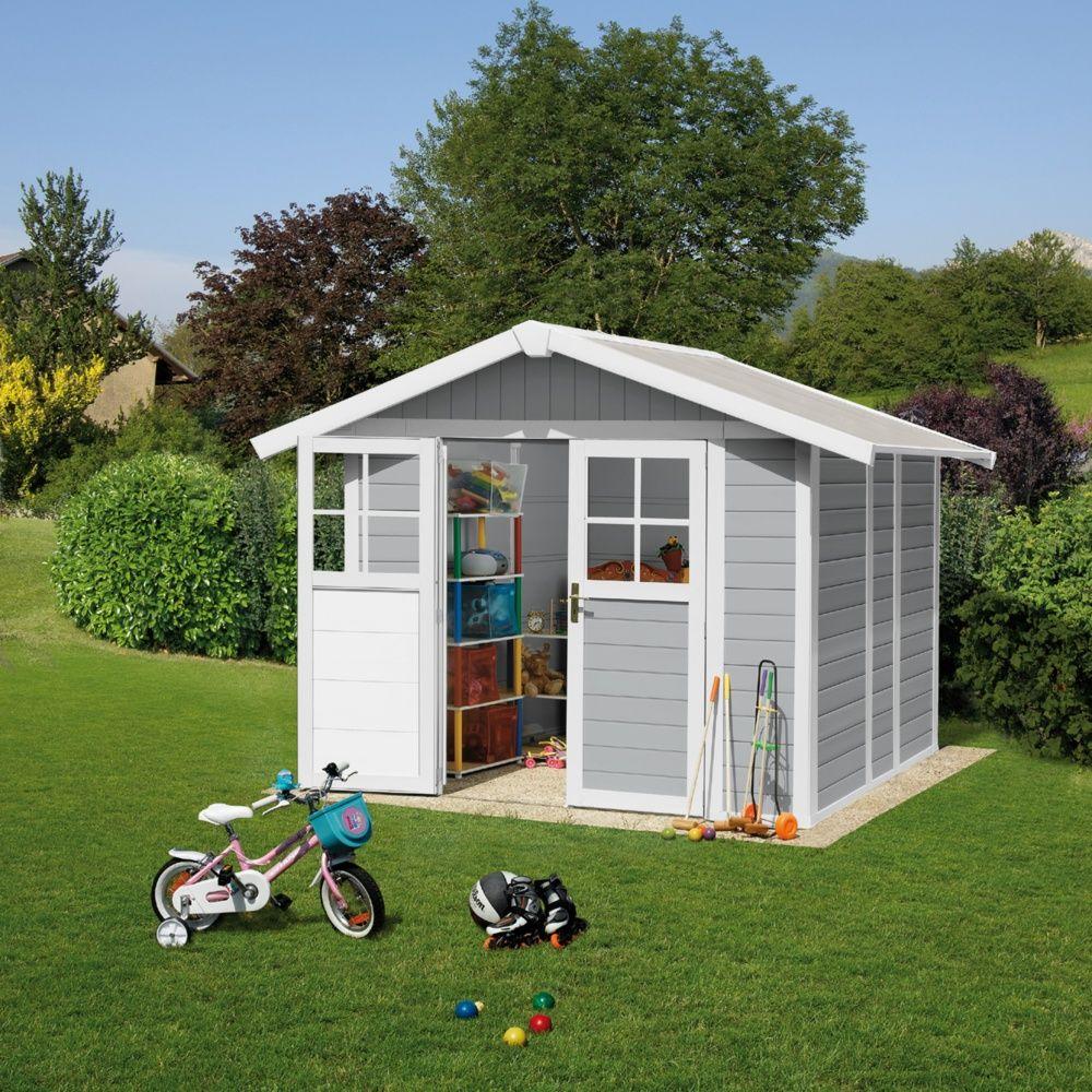 Abri de jardin r sine grosfillex m ep 26 mm deco gris clair plantes et jardins - Abri jardin resine grosfillex calais ...