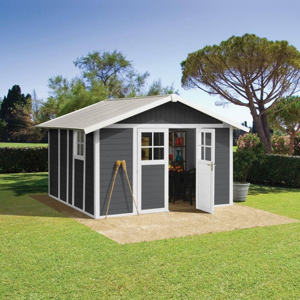 Abri de jardin r sine grosfillex m ep 26 mm deco gris plantes et jardins - Abri jardin resine grosfillex calais ...