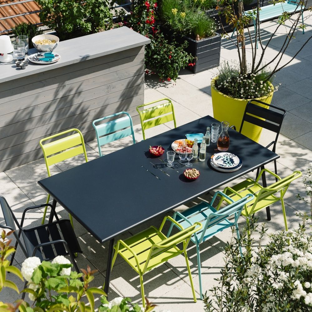 salon de jardin fermob monceau table l146 l80cm 8 chaises plantes et jardins. Black Bedroom Furniture Sets. Home Design Ideas