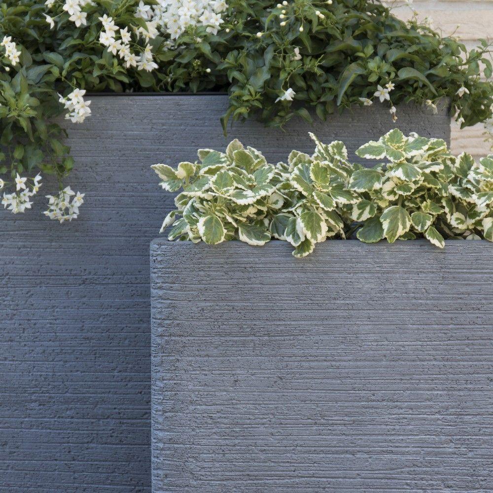 Bac fleurs fibre de terre stri e clayfibre l80 h92 cm for Bac plante jardin