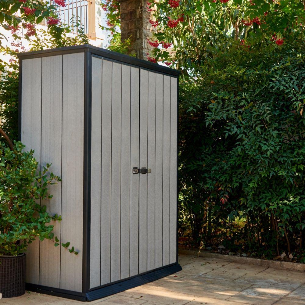 armoire de jardin r sine keter brossium l139 5 h181 5 cm gris plantes et jardins. Black Bedroom Furniture Sets. Home Design Ideas
