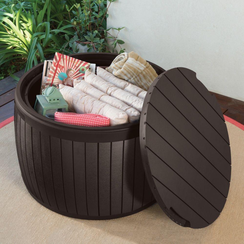 Coffre de jardin résine Keter Tonneau 132L marron - Plantes et Jardins